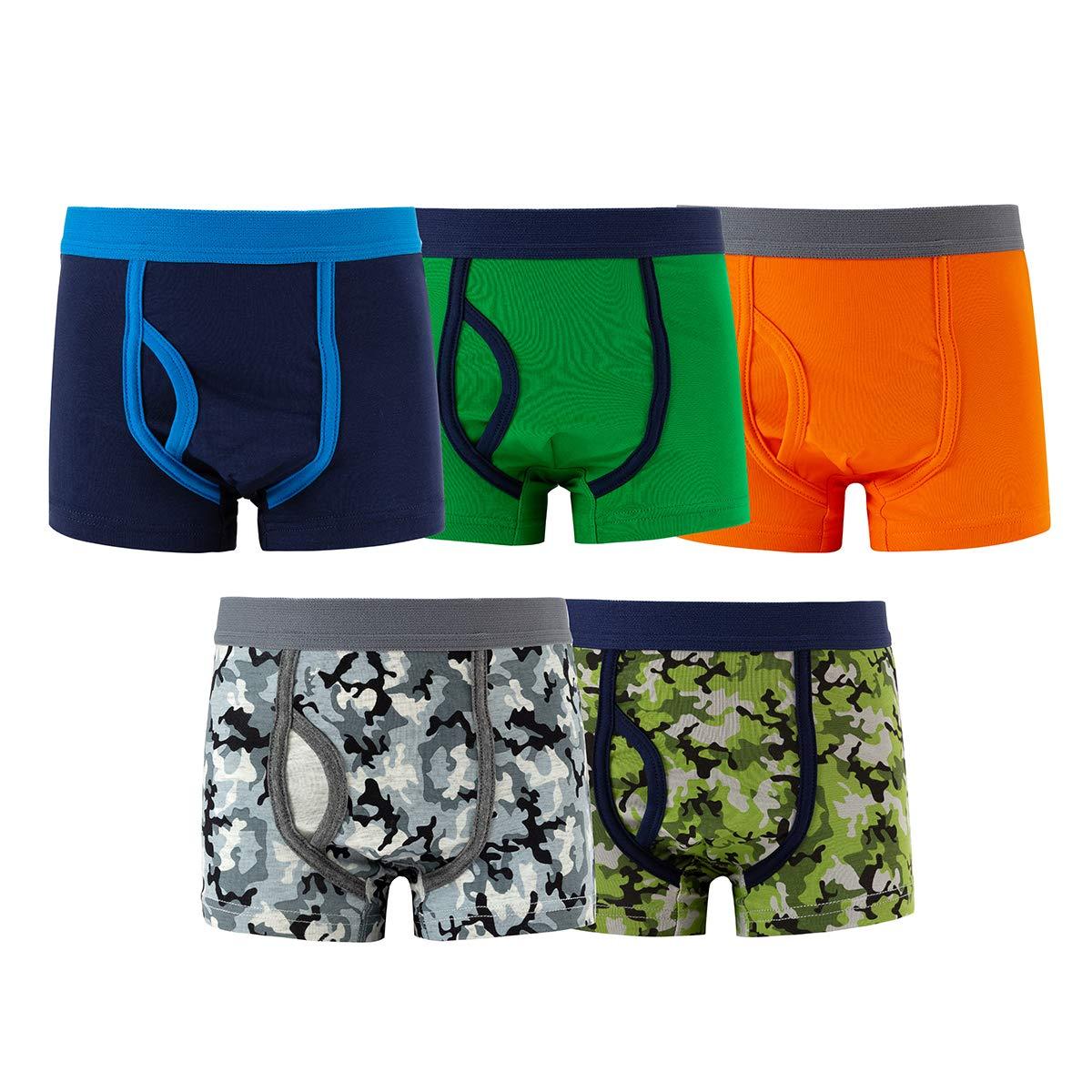 MAMABIBI Boys Boxer Briefs Big Camo Cotton Underwear 5 of Pack