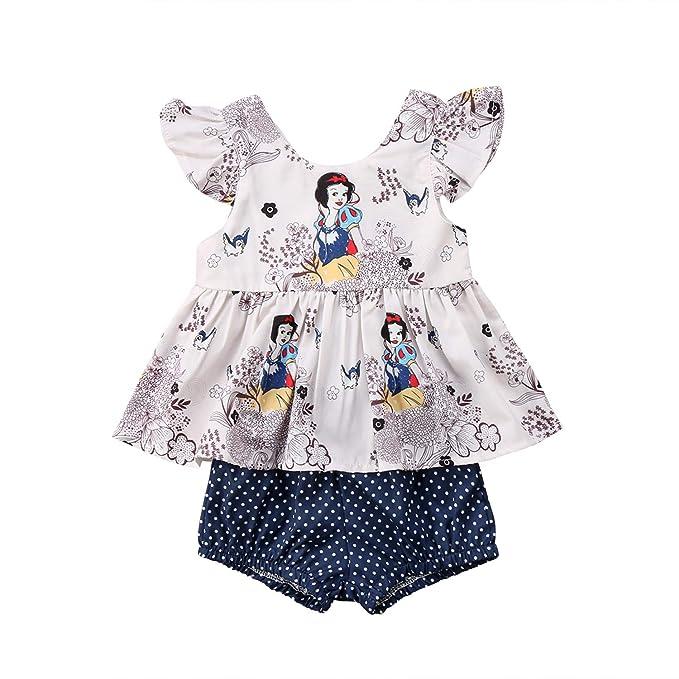 537d929ee Amazon.com  2PCS Newborn Toddler Kids Girl Clothes Cartoon Tutu T ...