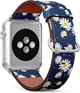 Compatible with Big Apple Watch 42mm & 44mm (Series 5, 4, 3, 2, 1) Leather Watch Wrist Band Strap Bracelet with Stainless Steel Clasp and Adapters (White Daisies Circle)