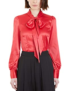 a281ecec39eb9e HAWES   CURTIS Women s Fitted Luxury Satin Blouse Single Cuff - Pussy Bow