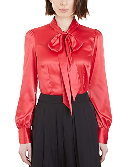 0c0addf886612 HAWES   CURTIS Women s Fitted Luxury Satin Blouse Single Cuff - Pussy Bow   Amazon.co.uk  Clothing
