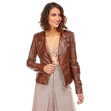 4ae1c1abd638f DKS Blouson en Cuir Femme  Amazon.fr  Vêtements et accessoires