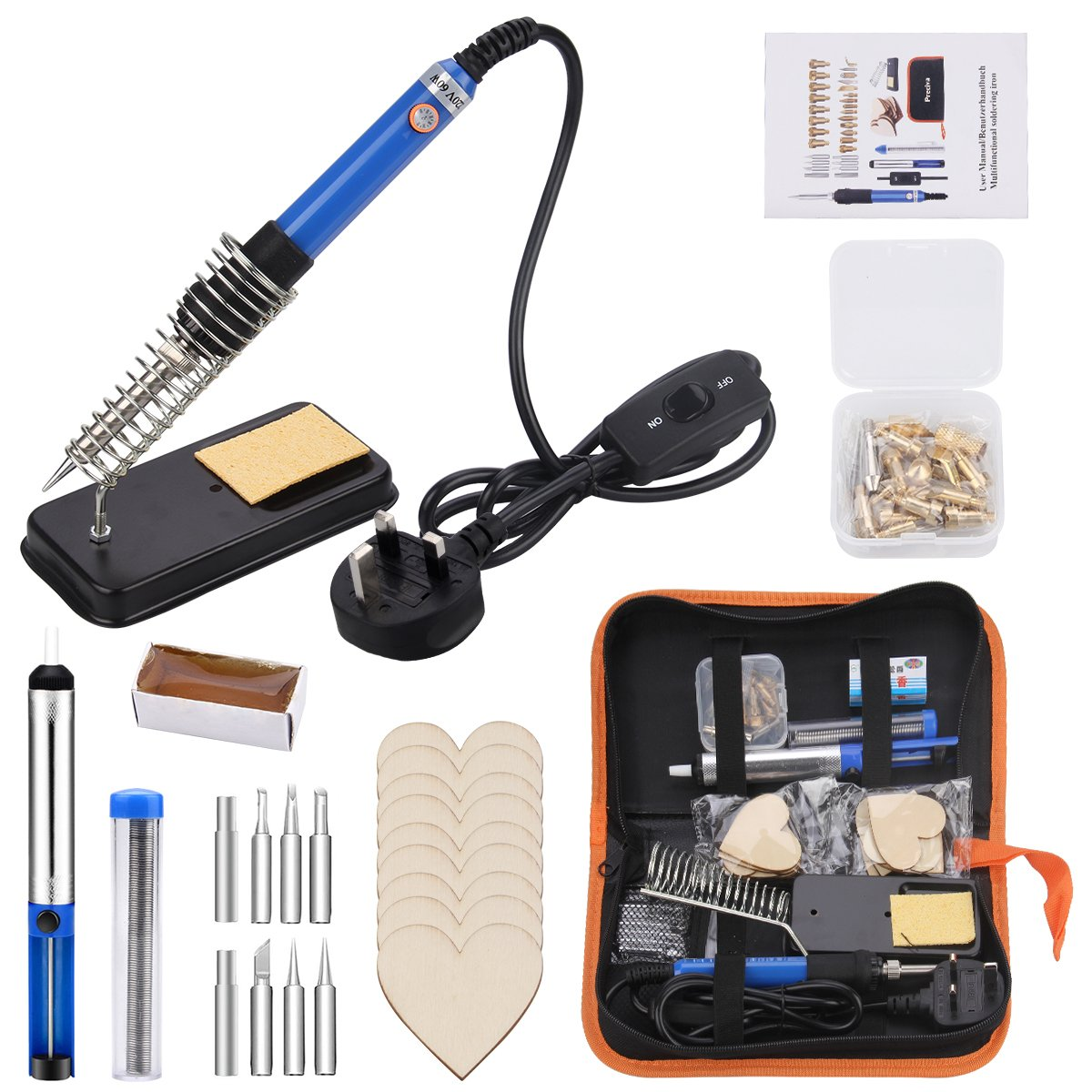Wood Iron Kit Multifunctional Pyrography Kit with Tips for Cutting and Carving Preciva 37 Pieces Soldering Iron Kit
