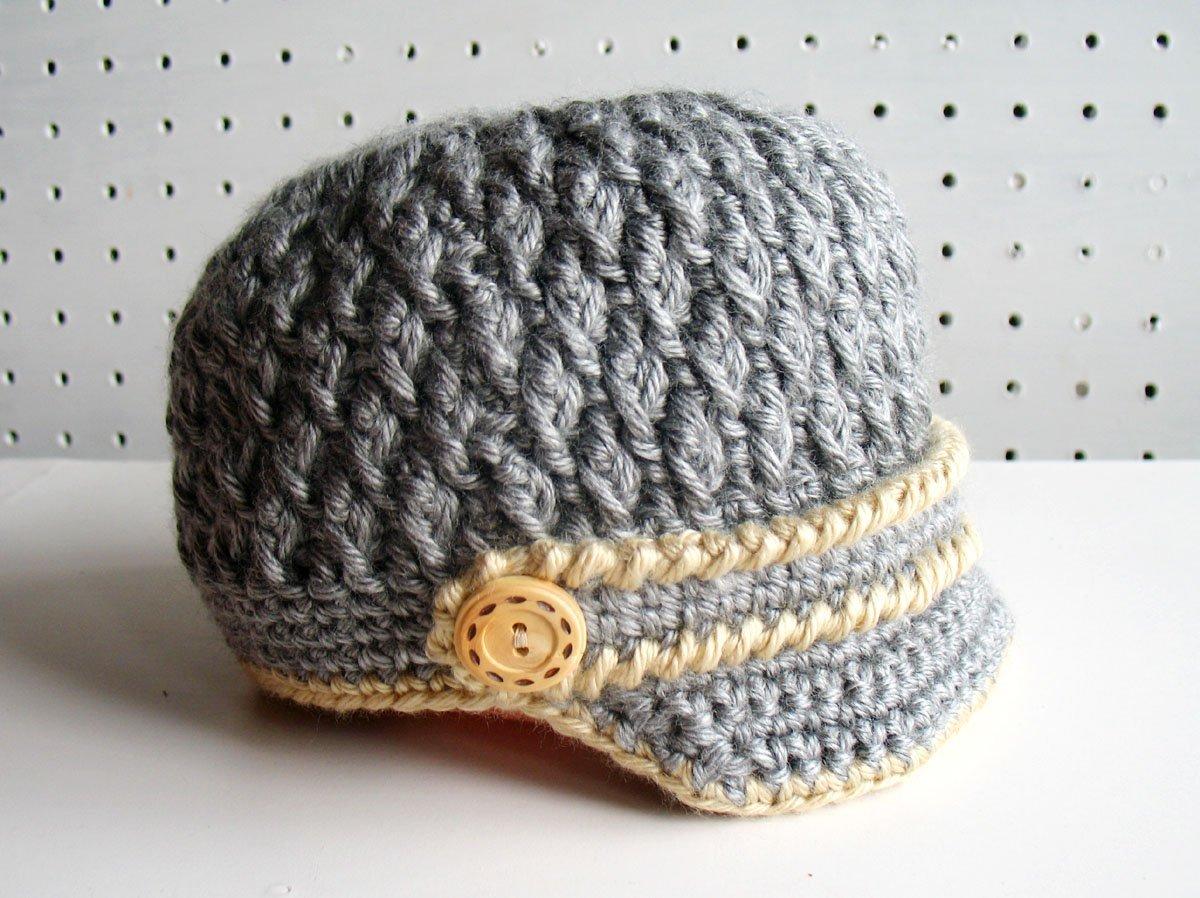 Crochet Handmade baby girl hat 3-6 months Pink Grey