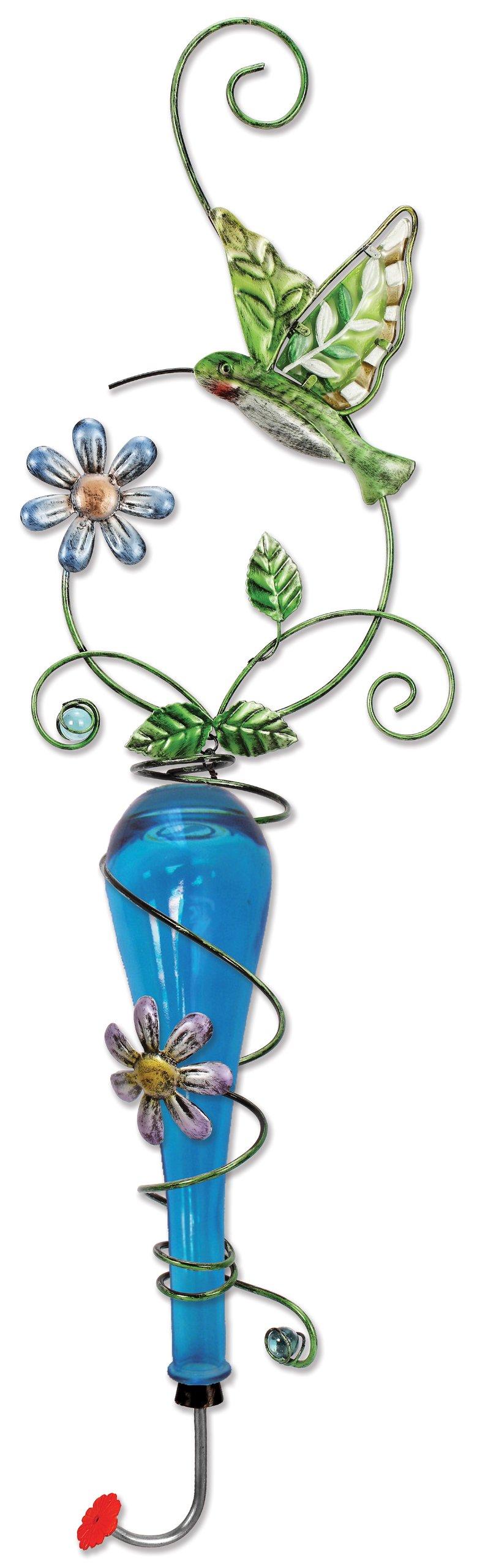Sunset Vista Design Studios Colored Glass and Metal Hanging Hummingbird Feeder