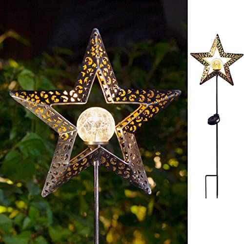 TAKE ME Star Solar Lights Garden Outdoor,Waterproof Metal Decorative Stakes for Walkway,Yard,Lawn,Patio