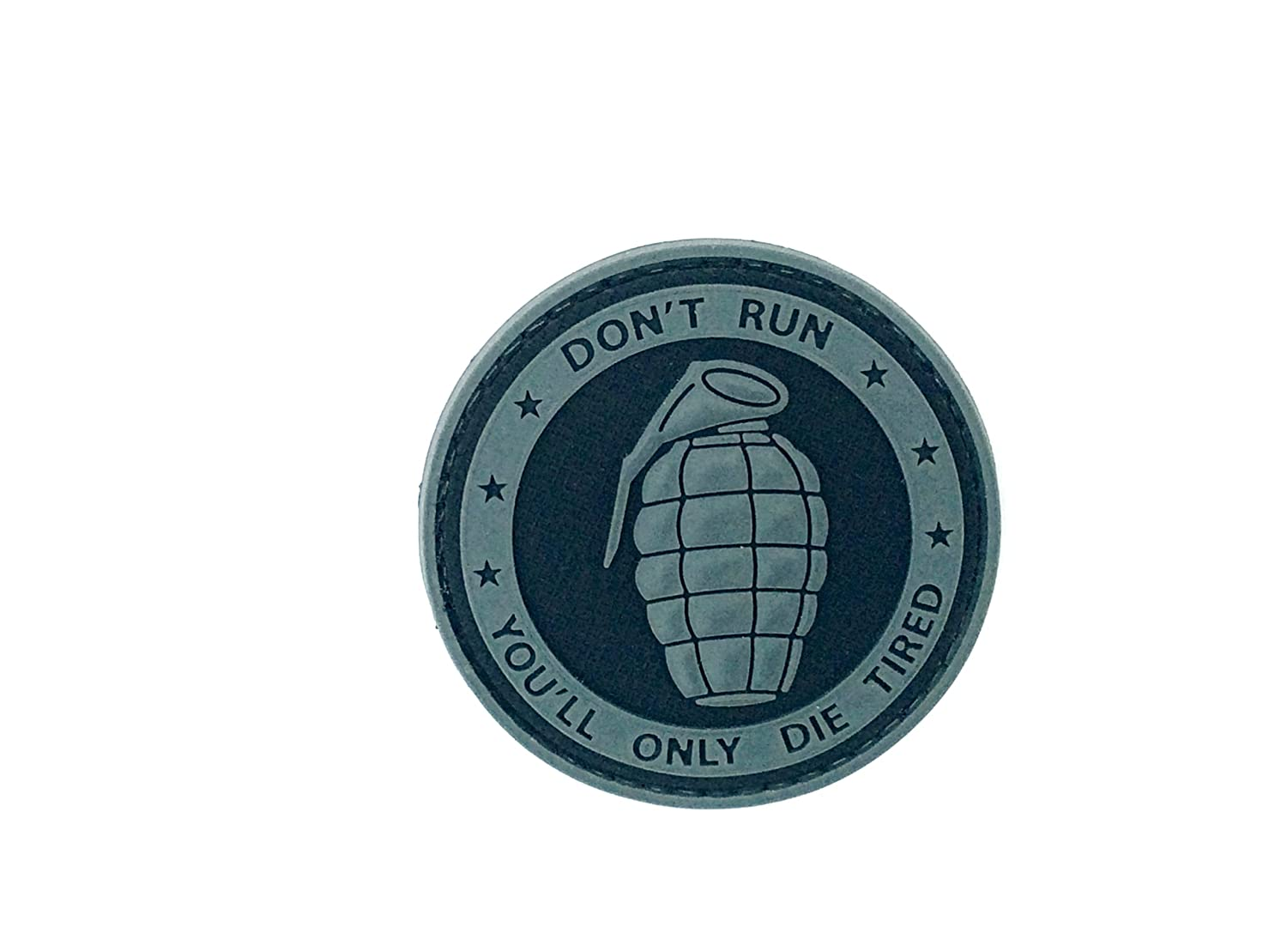 Toppa Don't Run You'll Only Die Tired Con Granata Color Nero In PVC Da Airsoft ACM