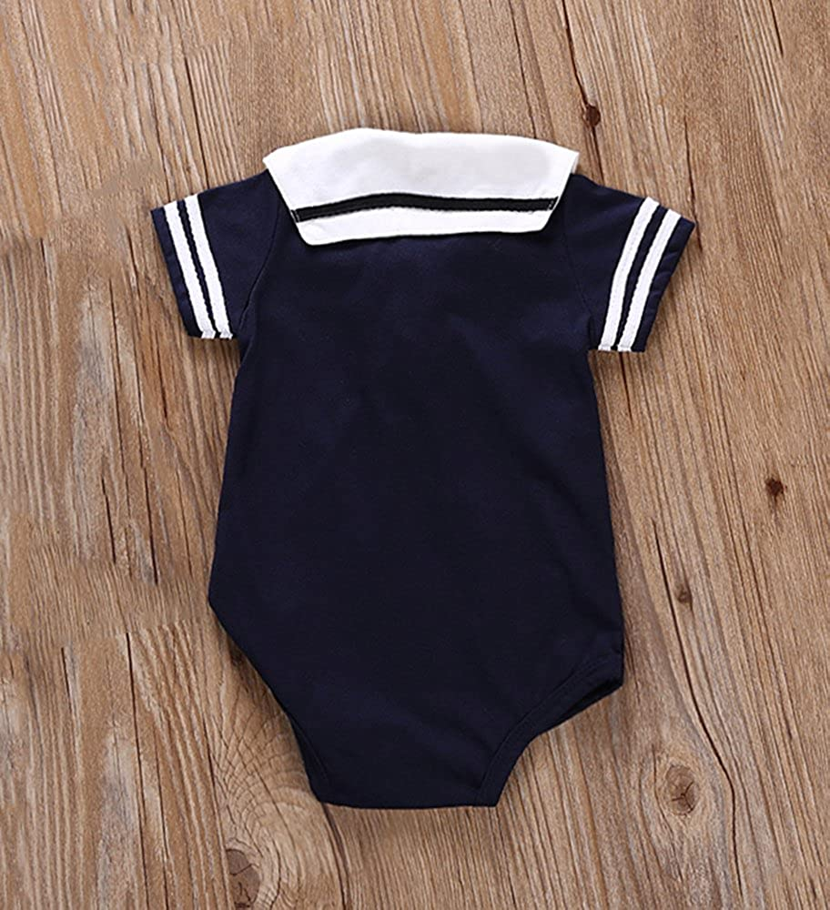 DREAMOWL Junge Kleinkind Matrosenanzug Streifen Strampler Navy Baby Body Outfit