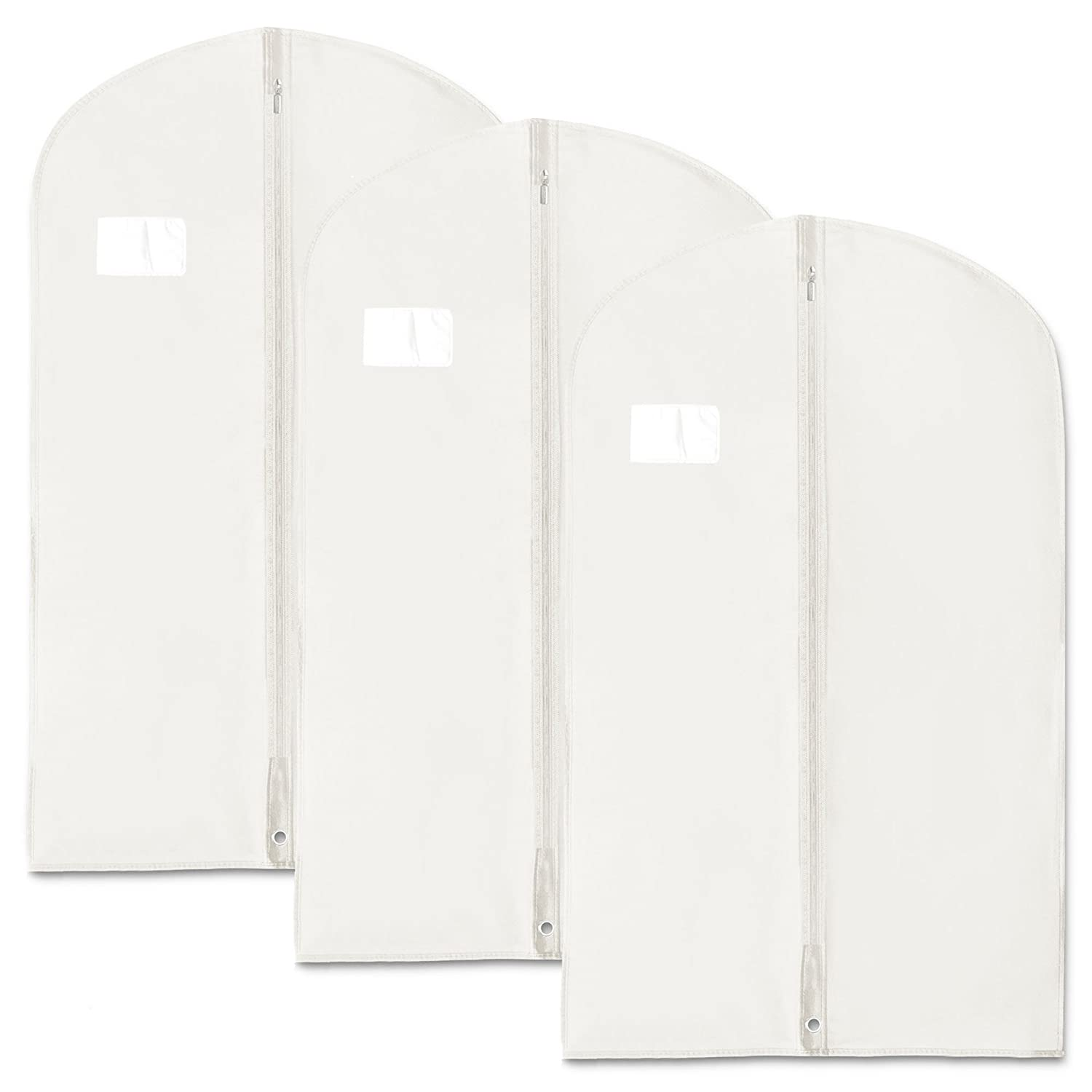 HANGERWORLD Synthetic 40-Inch Breathable Suit Garment Clothes Cover Bags, Pack of 3, White Z-100-WHITE-BR-3