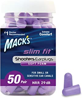 product image for Mack's Slim Fit Soft Foam Shooting Ear Plugs, 50 Pair - Small Earplugs for Hunting, Tactical, Target, Skeet and Trap Shooting