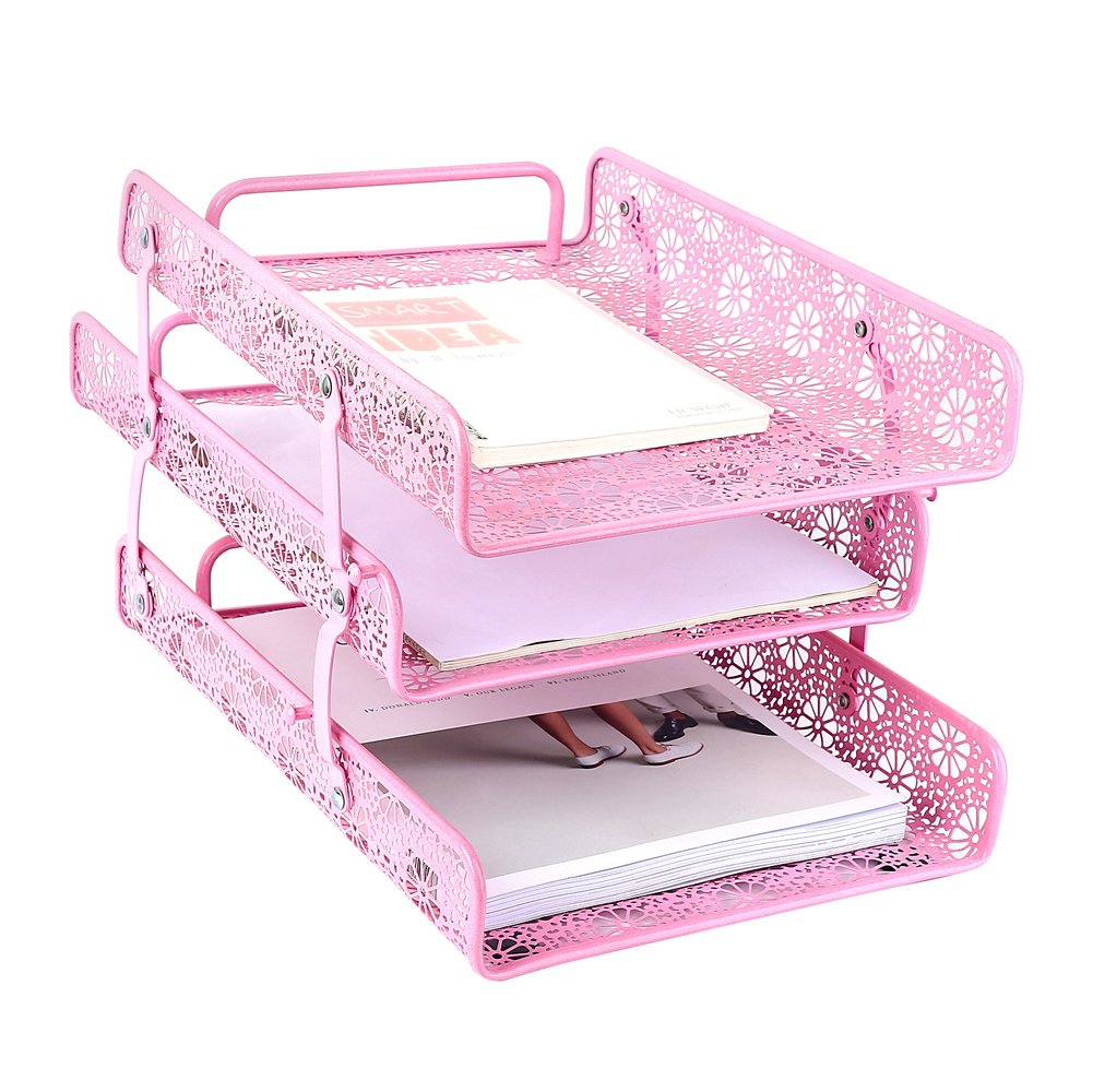 Crystallove Metal Hollow 3-Tier Document Tray Files Sorter Paper Holder Magazine Frame of Desk Accessories Office Supplies Organizer (Pink) by Crystallove