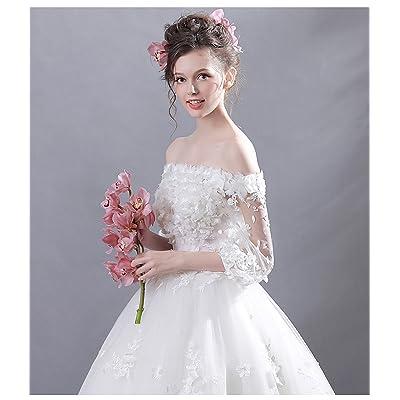 284dcf5ad9e49 豪華な花嫁ドレス ウエディングドレス 白レース ロングドレス ベアトップ  結婚式  ウェディングドレス 二次会  披露宴  パーティードレス