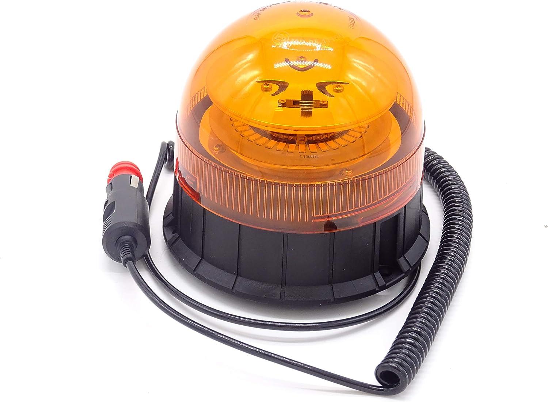 Rotativo LED magnetico destellante para tractor, camion, o vehiculo con mechero a 12 o 24 voltios con luz ambar intermitente y destellante estrosbotica de emergencia, Irrompible.