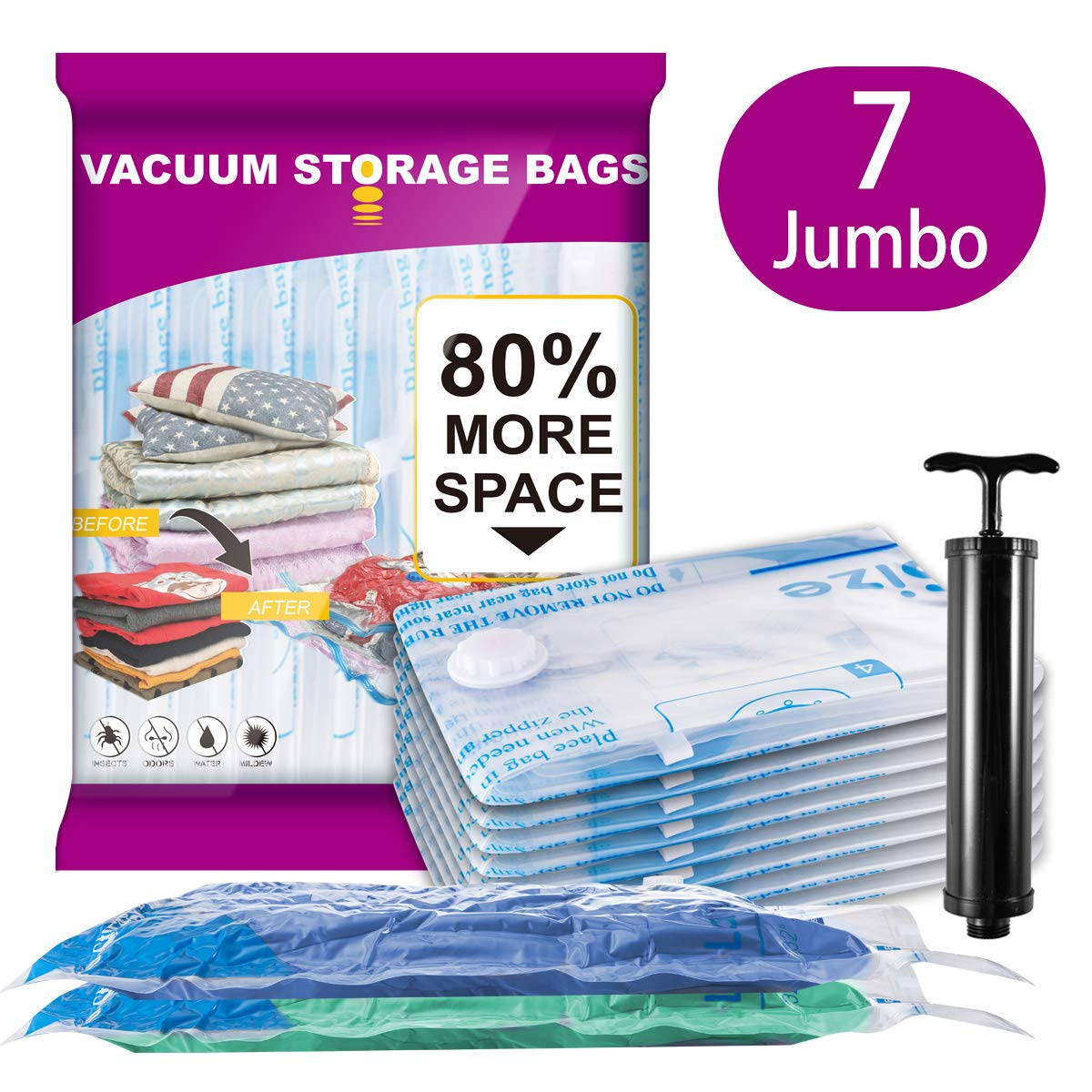 """Meiqi 7 Jumbo Vacuum Storage Bags (40""""x30"""") Space Saver Bags for Clothes Pillows Blankets Comforters with Hand Pump for Travel"""