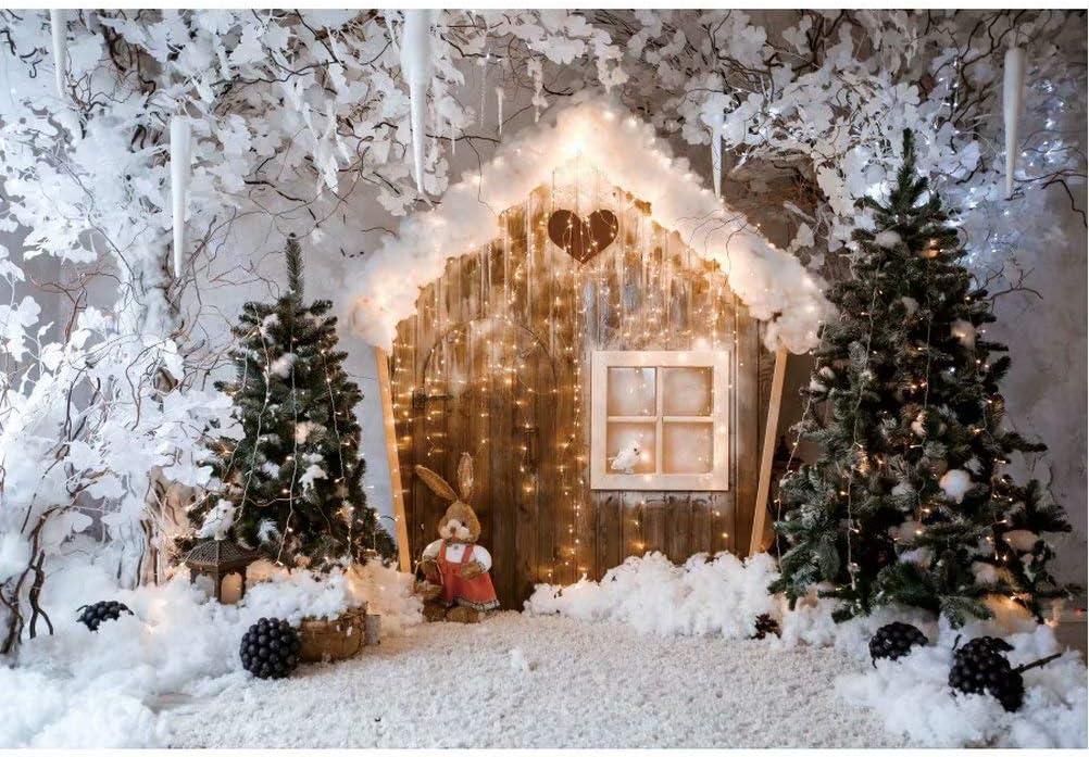 Christmas Snow Theme Background-Snowy Cottage and Christmas Tree Photography Background Christmas Photo Props Christmas Baby Shower Photography