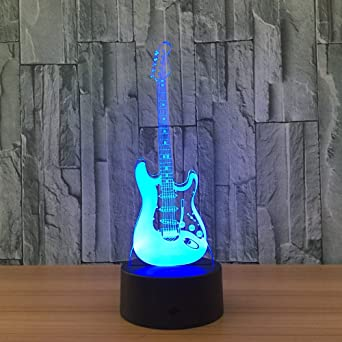 3D Lámpara Óptico Illusions Guitarra Electrica Led Luz Nocturna ...