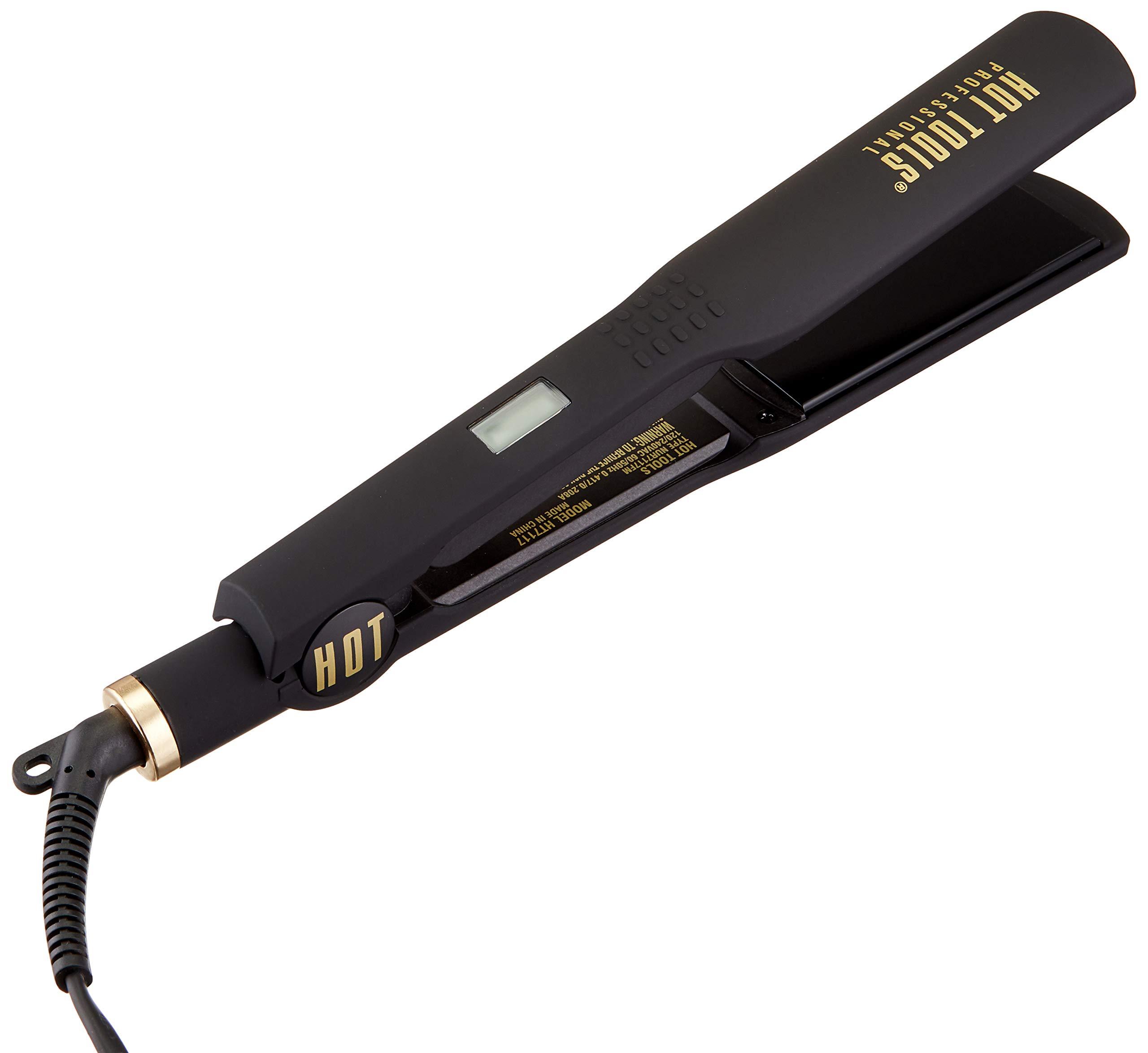 HOT TOOLS  Professional Black Gold Digital Flat Iron, 1 ¼ Inches