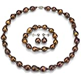 Sterling Silver 10-10.5mm Dyed-brown Nuclated Freshwater Cultured Pearl Necklace, Bracelet, Earrings