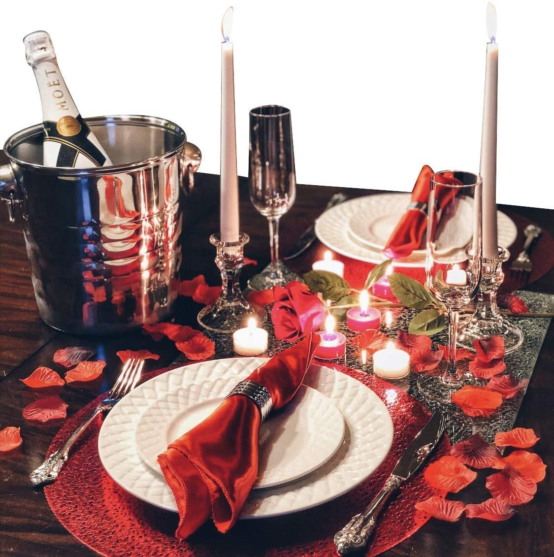 Amazon Com Romantic Dinner Set For Two Romantic Decorations Special Night Romantic Candles Rose Petals And Plates Kitchen Dining