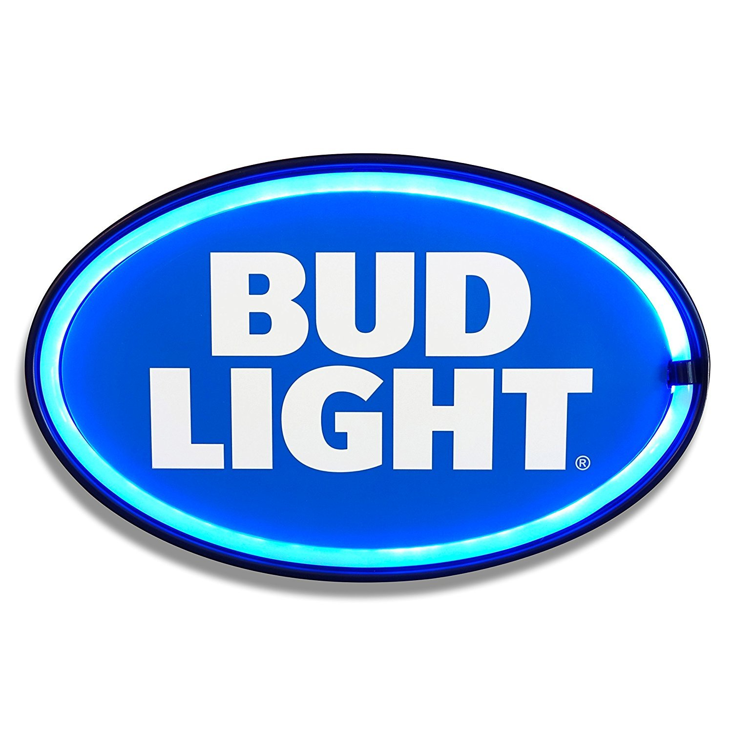 New and Improved! Now with Wall Plug and 6 cord! Bud Light LED Sign, 16 Oval Shaped Sign, LED Light Rope That Looks Like Neon, Wall Decor For Man Cave, Garage, Bar