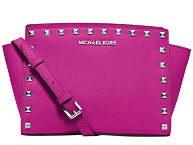 a727a055d2bf27 Image Unavailable. Image not available for. Colour: MICHAEL Michael Kors  Selma Medium Studded Leather Messenger ...