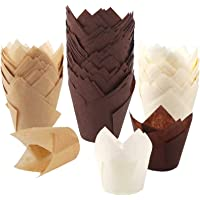 BAKHUK 200pcs Tulip Cupcake Baking Cups, Muffin Baking Liners Holders, Rustic Cupcake Wrapper, Brown, White and Nature…