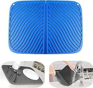 IYYI Silicone Dish Drying Mat Large Draining Mat Eco-Friendly Drainer Mat Heat Resistant Pot Mat Dishwasher Safe Trivet (Blue)