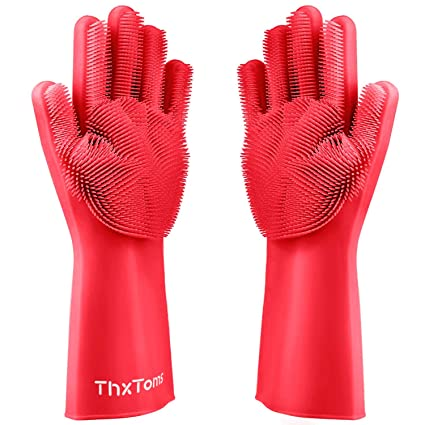 Cleaning gloves latex rubber scrubbing shower