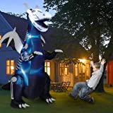Twinkle Star 8ft Halloween Inflatable Yard Decorations Lighted Skeleton Dinosaur, Animated Blow Up Tyrannosaurus T-Rex…