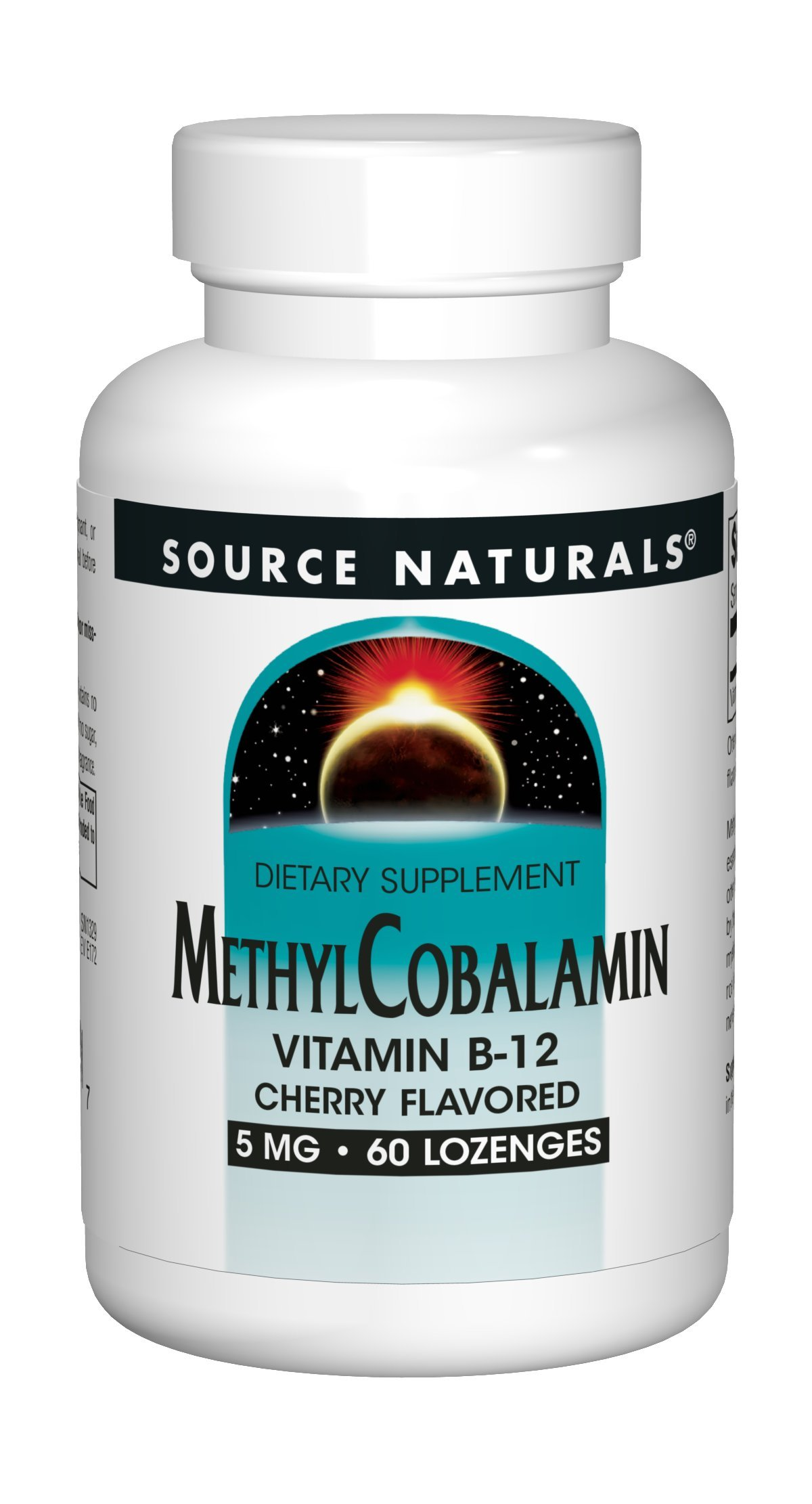 Source Naturals Methylcobalamin Vitamin B-12 5mg Cherry Flavored Sublingual - 60 Tablets