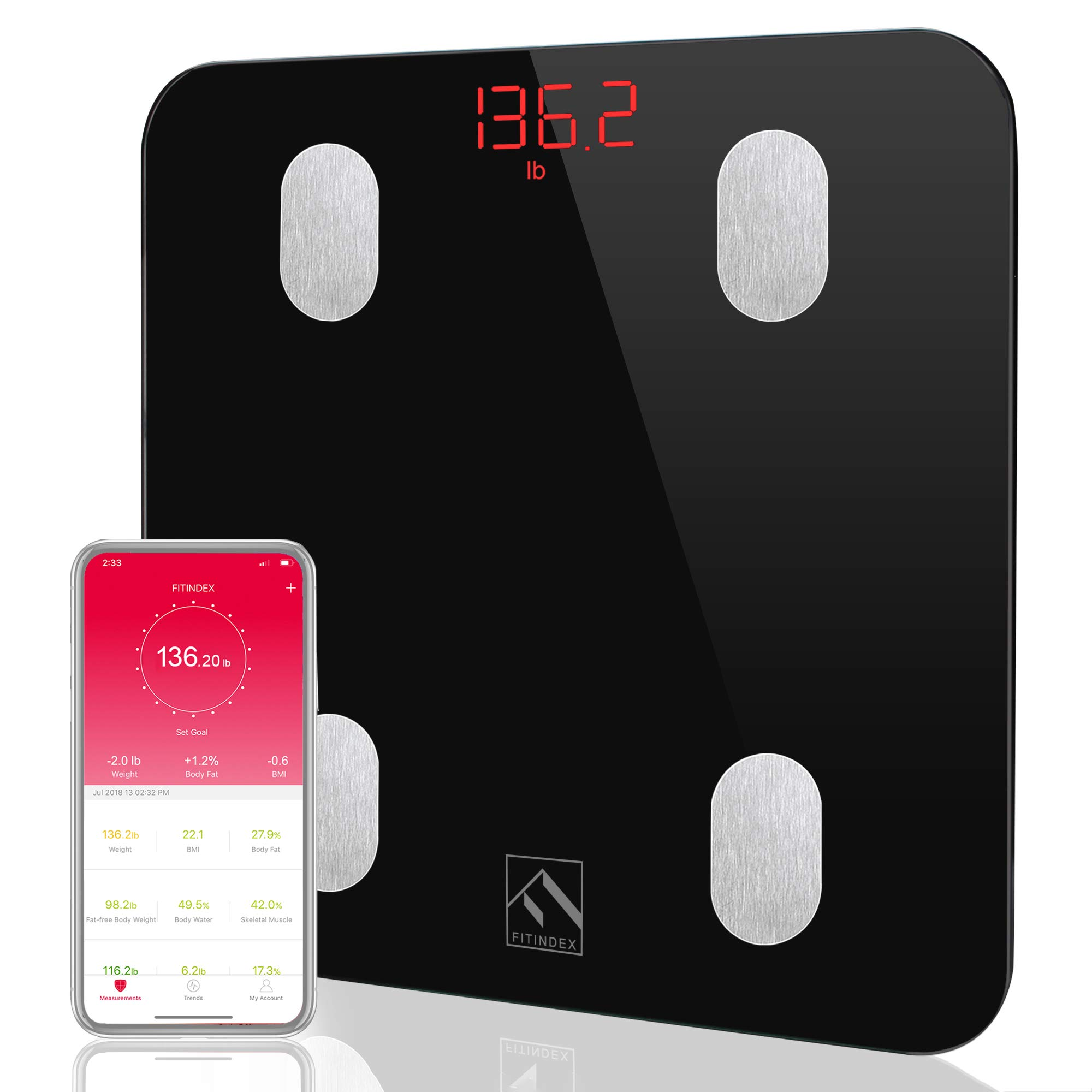 Bluetooth Body Fat Scale, FITINDEX Smart Wireless Digital Bathroom Weight Scale Body Composition Monitor Health Monitor with iOS & Android APP for Body Weight, Fat, Water, BMI, BMR, Muscle Mass