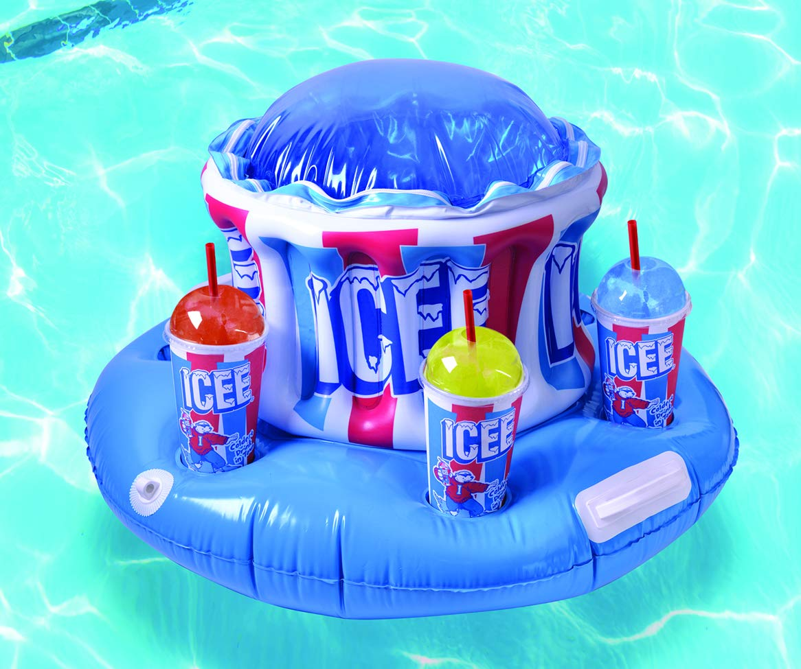 Icee Inflatable Pool Drink Holder Cooler with Zippered Ice Compartment for  Kids and Adults - Floating Cooler Holds 6 Drinks Fun Giant Floaties