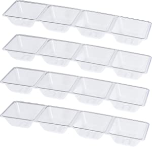 Plasticpro 4 Sectional Rectangle Plastic Disposable Serving Tray/Platter 5 X 16 Clear Pack of 4