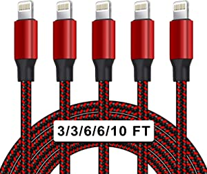 UNEN MFi Certified 5Pack[3/3/6/6/10ft] Nylon Braided iPhone Charger Lightning Cable Fast Charging&Syncing Long Cord Compatible iPhone 11Pro Max/11Pro/11/XS/Max/XR/X/8/8P/7 and More-Black&Red