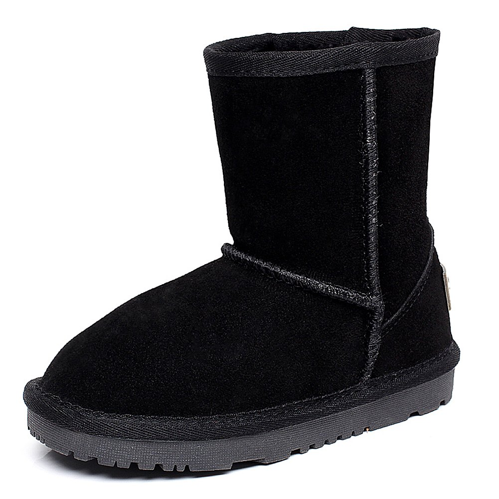 Shenn Boy's Girl's Cute Comfort Ankle High Winter Warm Suede Leather Snow Boots TD1025(Black,13 M US Little Kid) by Shenn (Image #1)