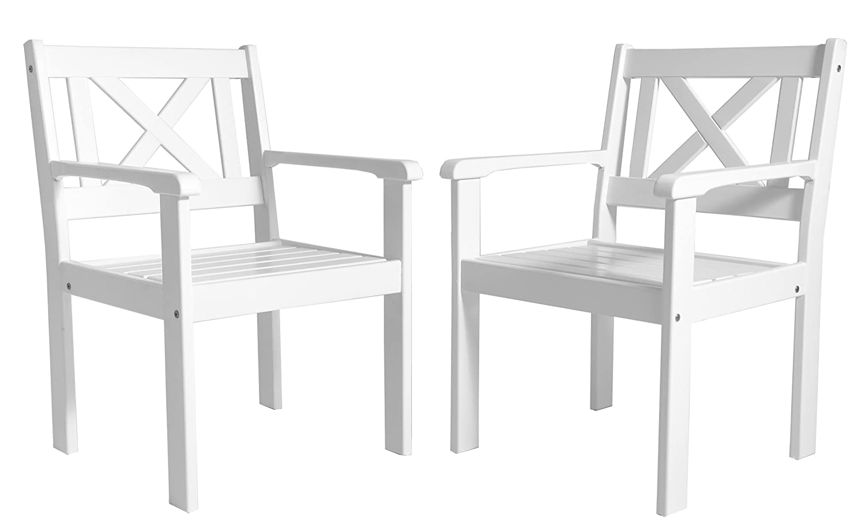 Ambiente Casa sedia del rattan mobili da giardino in legno massiccio Evje, bianco, set di 2 pezzi Ambientehome 90008