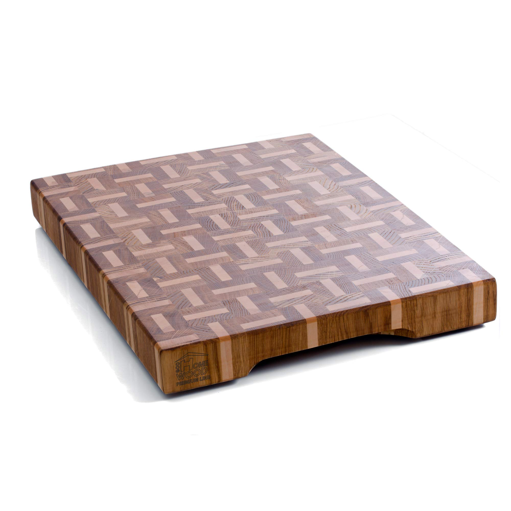 Large wood cutting board with feet - Wood butcher block Cutting board 18x14 End grain cutting board Wooden chopping block |Non slip wood cutting boards for kitchen - Heavy duty Wooden chopping board