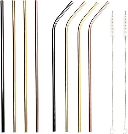 5x Edelstahl Trinkhalm Strohhalm gebogen wiederverwendbar mit Reinigungsbürste