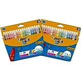 BIC Kids Kid Couleur Rotuladores de Colores de Punta Media, Varios Colores, 2 Packs de 18