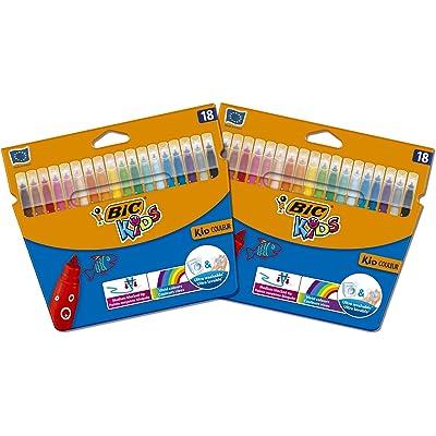 BIC - Rotuladores de colores con punta de fieltro de Bic Kids, color multicolor Bundle of 2x18