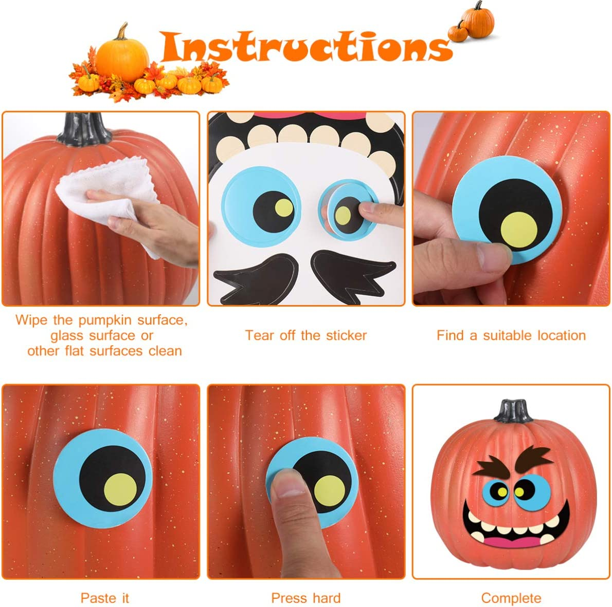 EXCEART 24 Sheets Halloween Pumpkin Decorating Stickers Jack-o-Lantern Decoration Kit Trick or Treat Stickers Party Favors