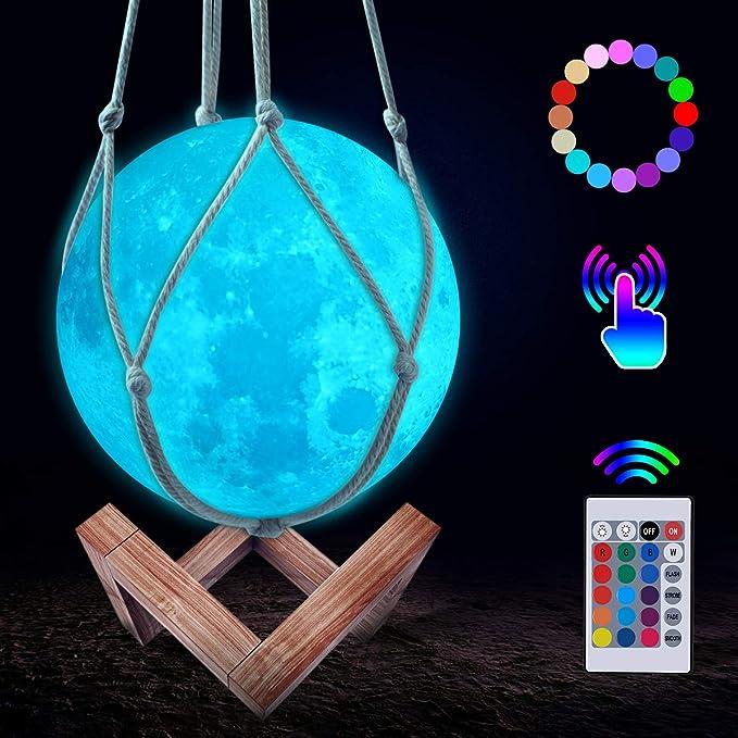 JBHOO Nuevo Lámpara de Luna 3D 16 Color LED Recargable Luz Luna ...