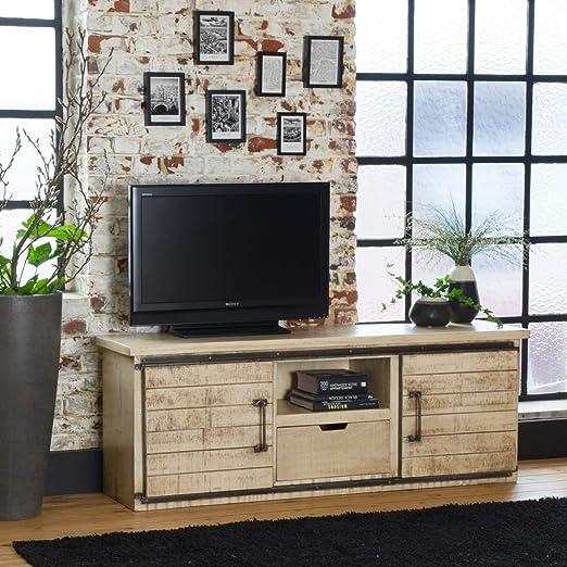 Mueble de TV industrial con puertas correderas de madera, efecto vintage.: Amazon.es: Hogar