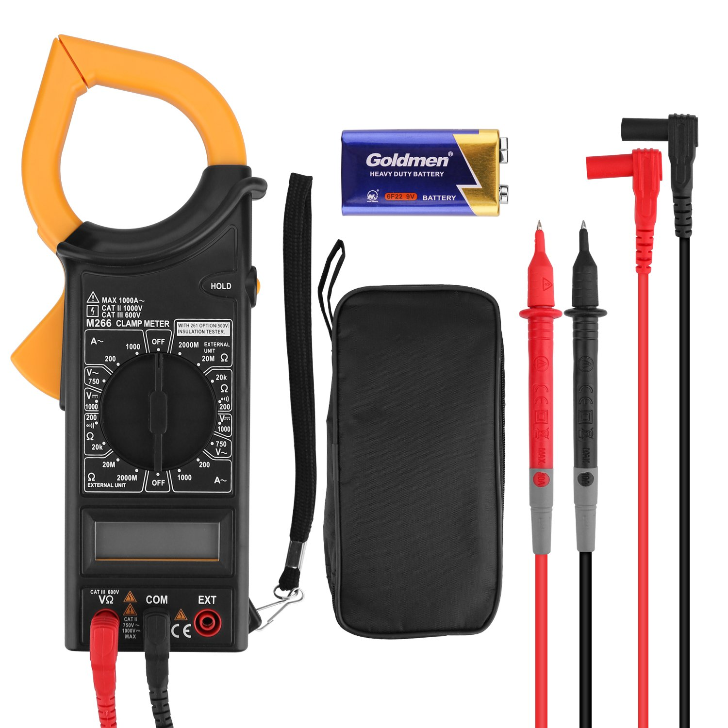 Digital Clamp Meter Multimeters, Auto-Ranging AC/DC voltmeter with Voltage, AC Current, Amp, Volt, Ohm, Diode and Resistance Test,overload protection Tester Meter,Powerjc