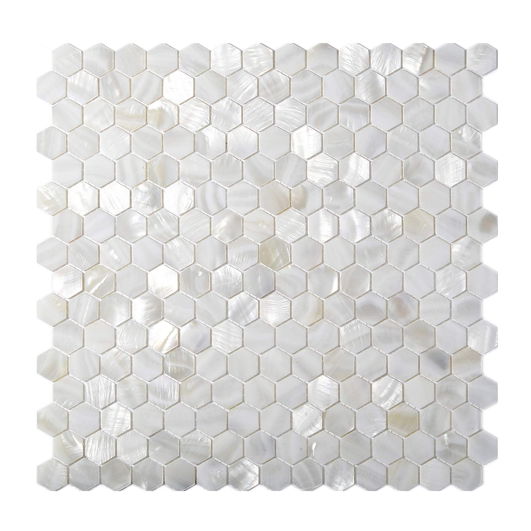 TST Mother of Pearl Tiles White Hexagon Shinning Wall Deco Backsplash Shell Tile MOP04 (5 Square Feet)