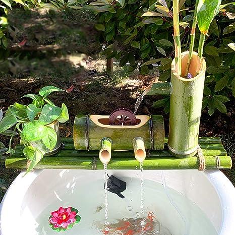 Fuente de bambú Jardín Fuente de Agua Fuente Bomba Decoración Esculturas Estatuas Artes Artesanía Obra de Arte Elaboración para Estanque Patio de pecera: Amazon.es: Deportes y aire libre