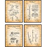 Fender Guitars Patent Art Prints - Vintage Wall Art Poster Set - Chic Rustic Home Decor for Bedroom, Game Room, Rec Room, Pla