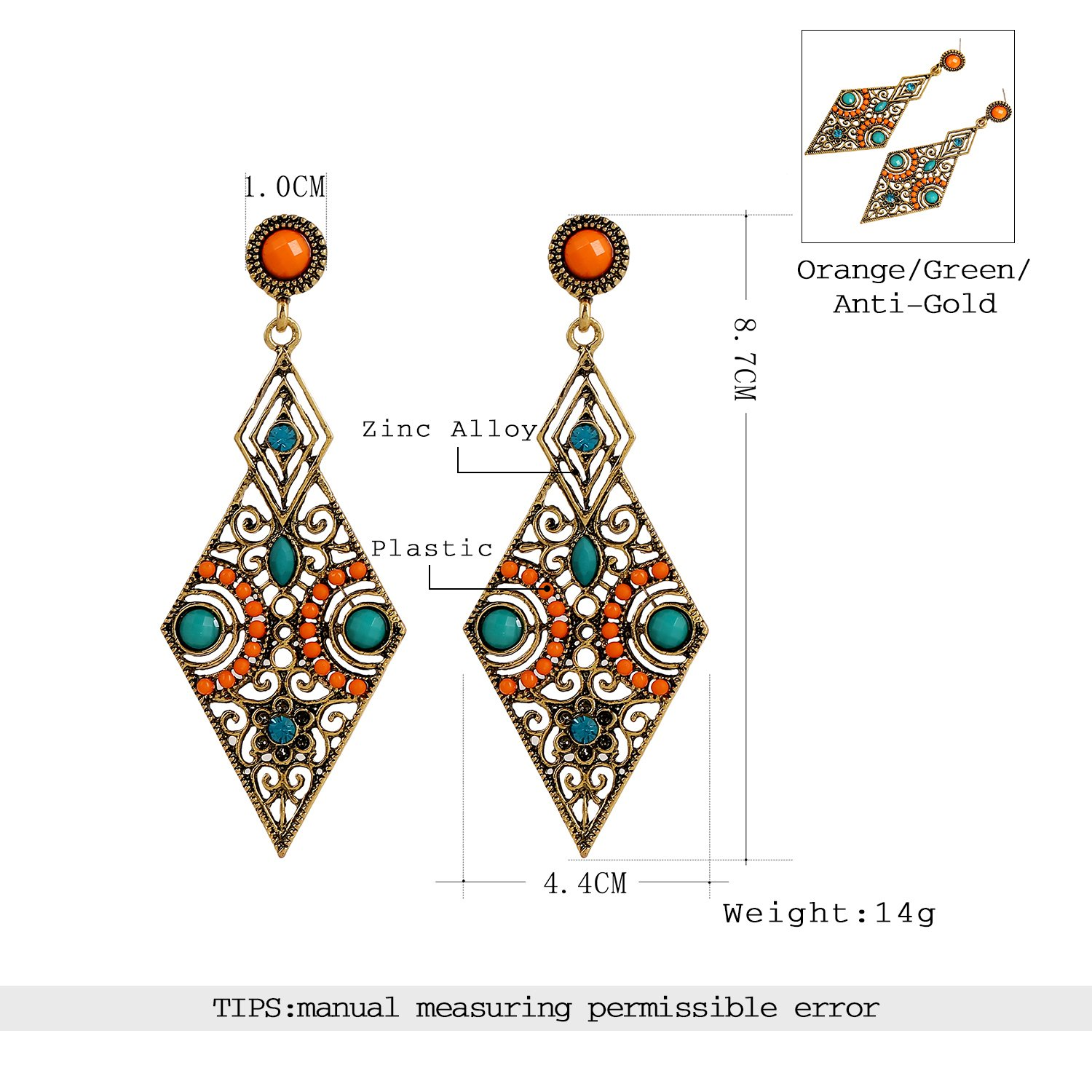 lureme® Vintage Antique Gold Hollow Diamond Shape Orange and Green Beads Stud Earrings(02005171) xWitxMxW