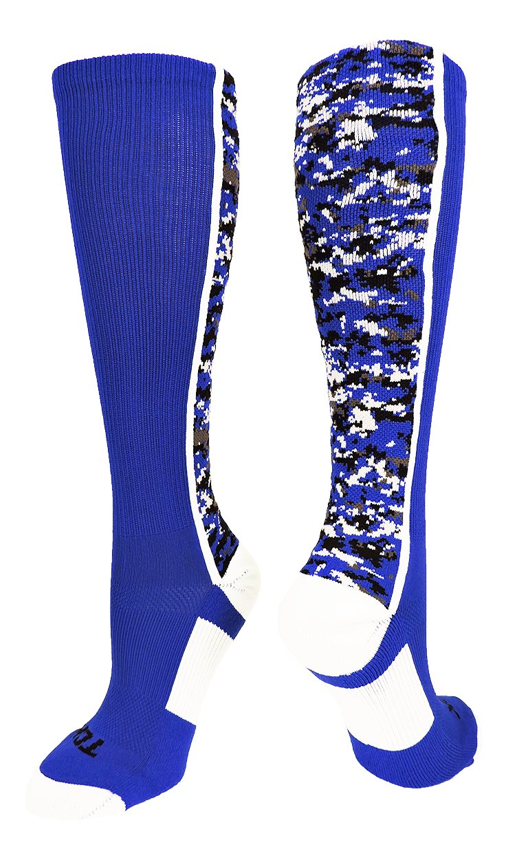 TCK Sports Digital Camo Over The Calf Socks (Royal/White, Small)