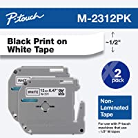 "Brother Genuine P-Touch M-2312PK Tape, 2 Pack, 1/2"" (0.47"") Wide Standard Non-Laminated Tape, Black on White, Recommended for Home and Indoor Use, 0.47"" x 26.2' (12mm x 8M), 2-Pack, M2312PK, M231"